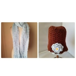 Accessories - Hang Knit Angora Scarf & Matching Beanie Hat